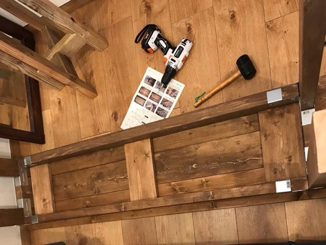 DIYダイニングテーブル天板部分裏側